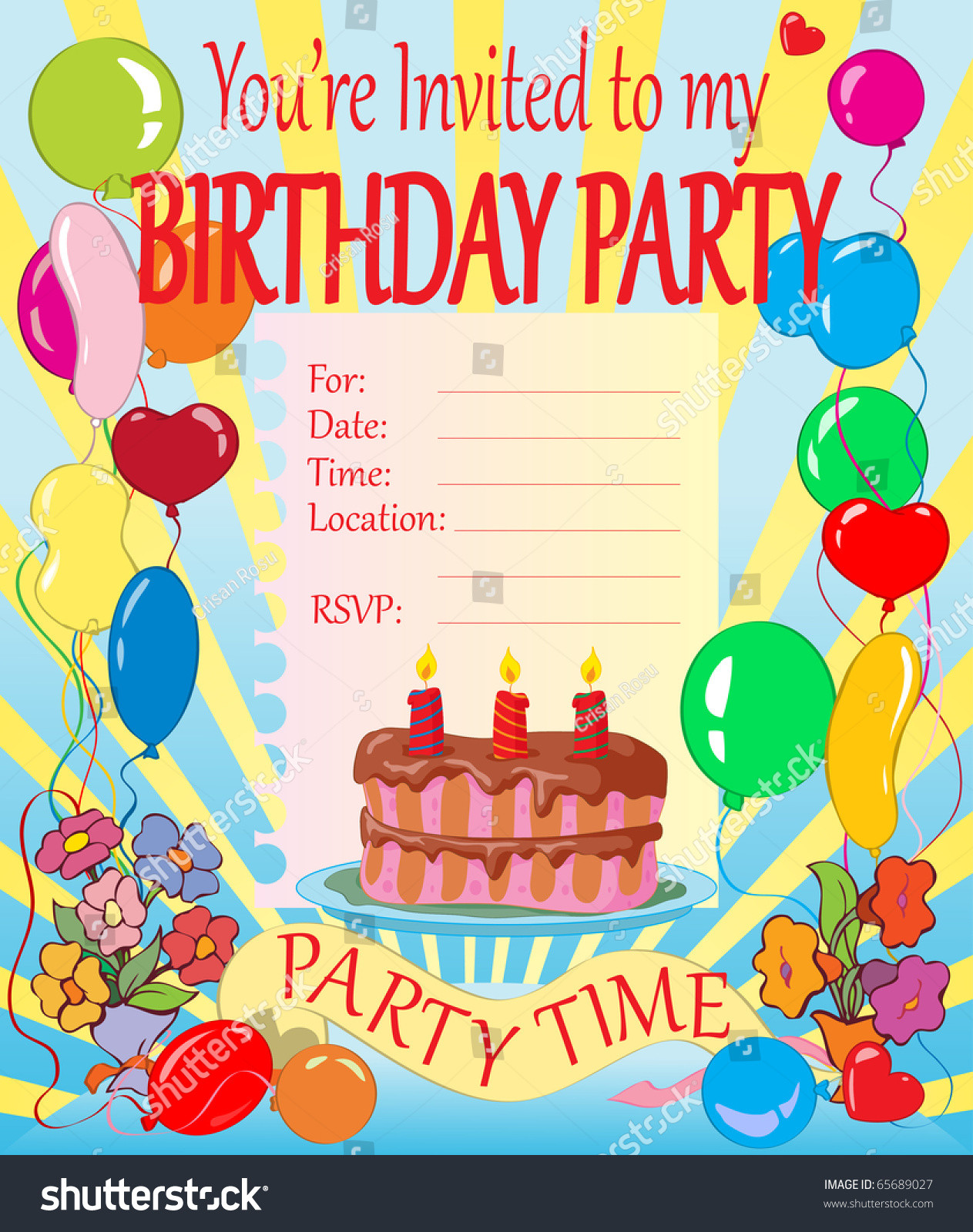 Toddler Birthday Invitations  Vector Illustration Birthday Party Invitation For Kids