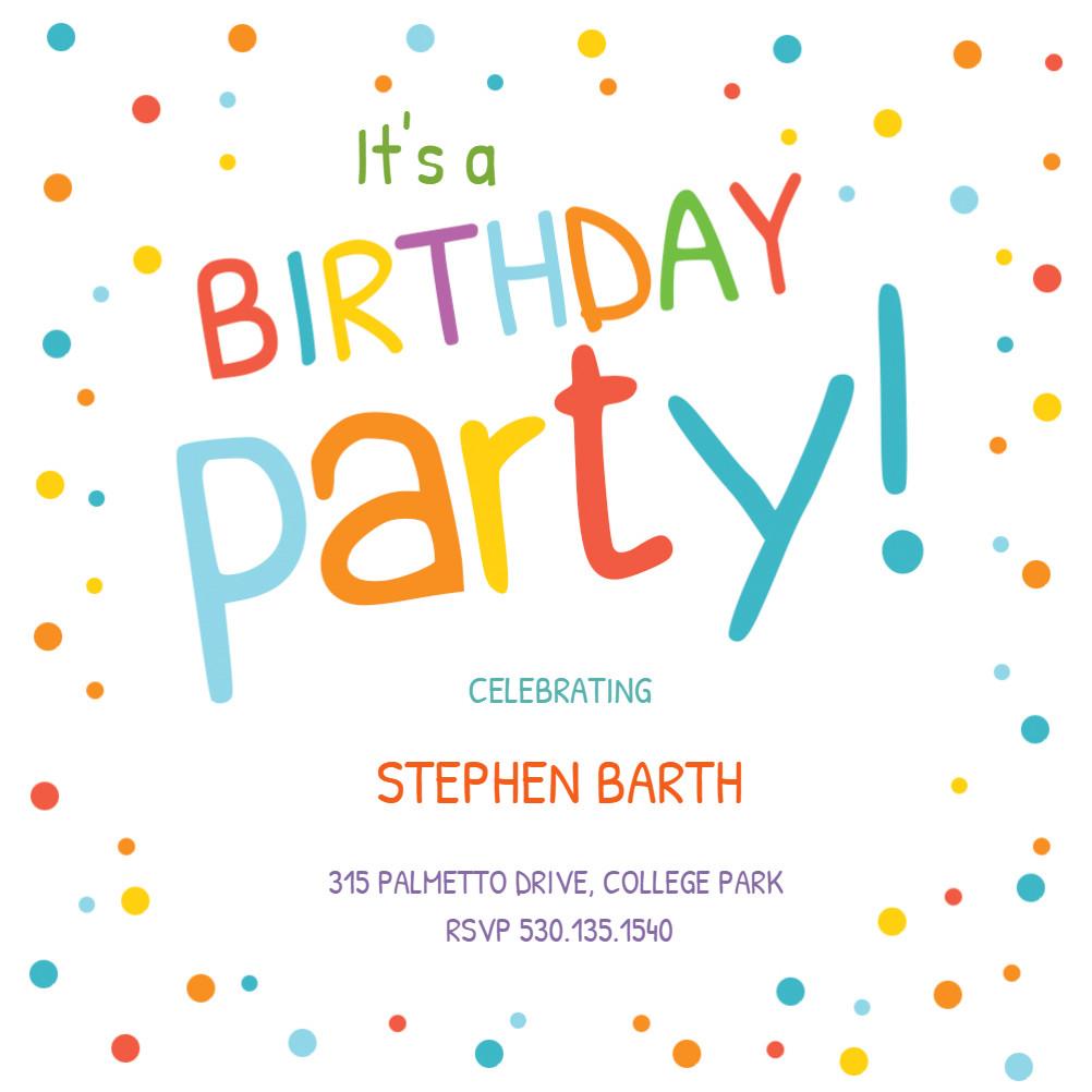 Toddler Birthday Invitations  Confetti Dots Border Birthday Invitation Template Free