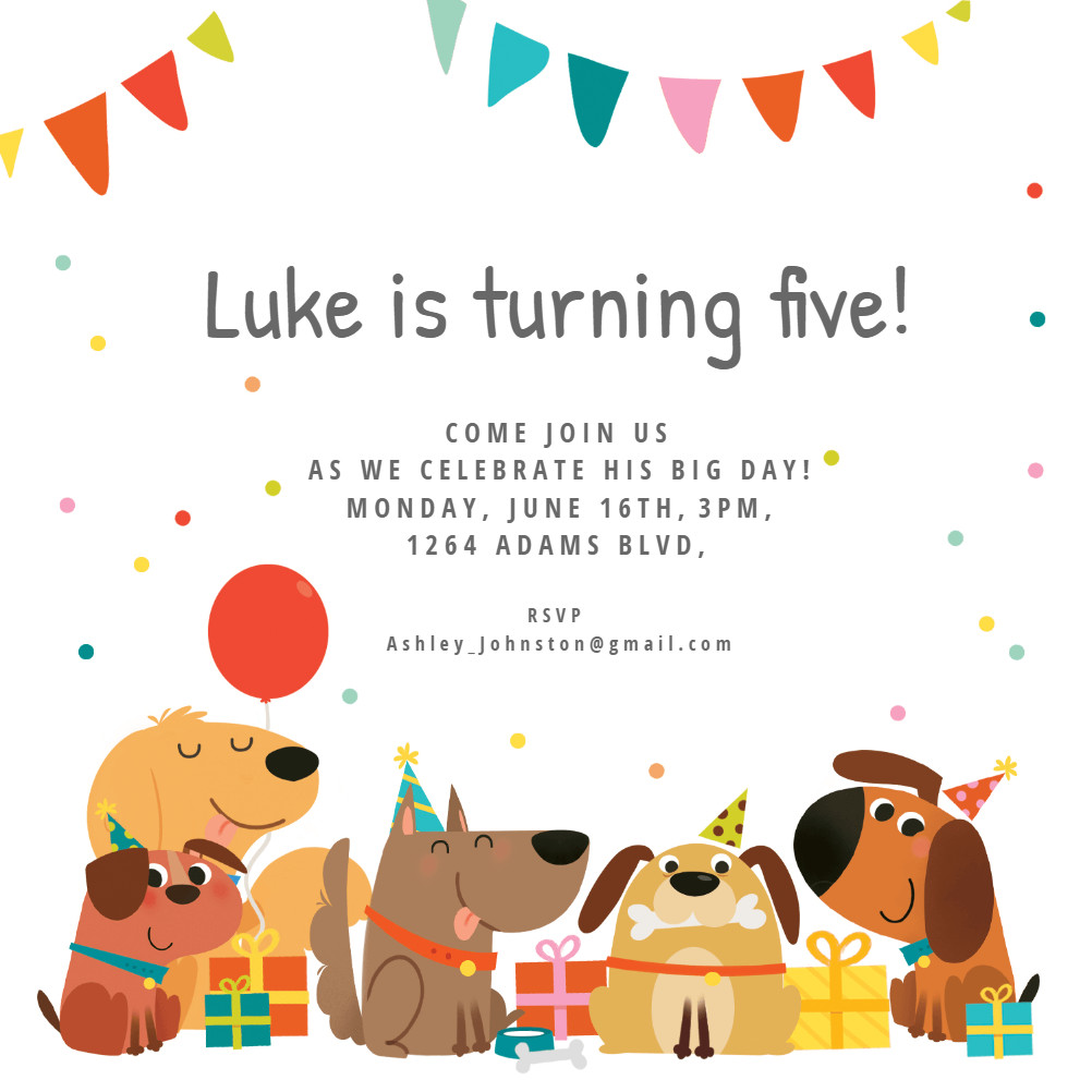 Toddler Birthday Invitations  Dog Birthday Invitation Template Free