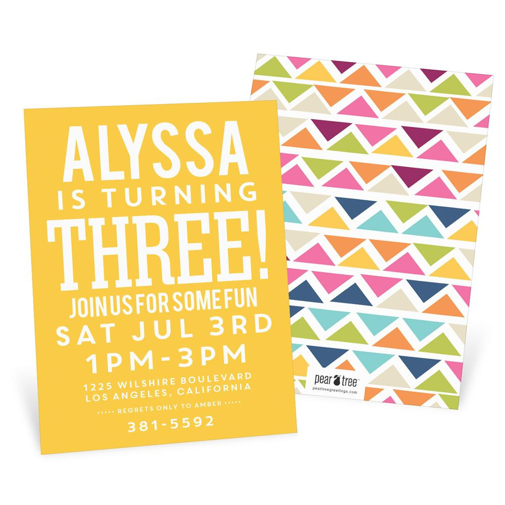 Toddler Birthday Invitations  Multicolor Mosaic Kids Birthday Invitations