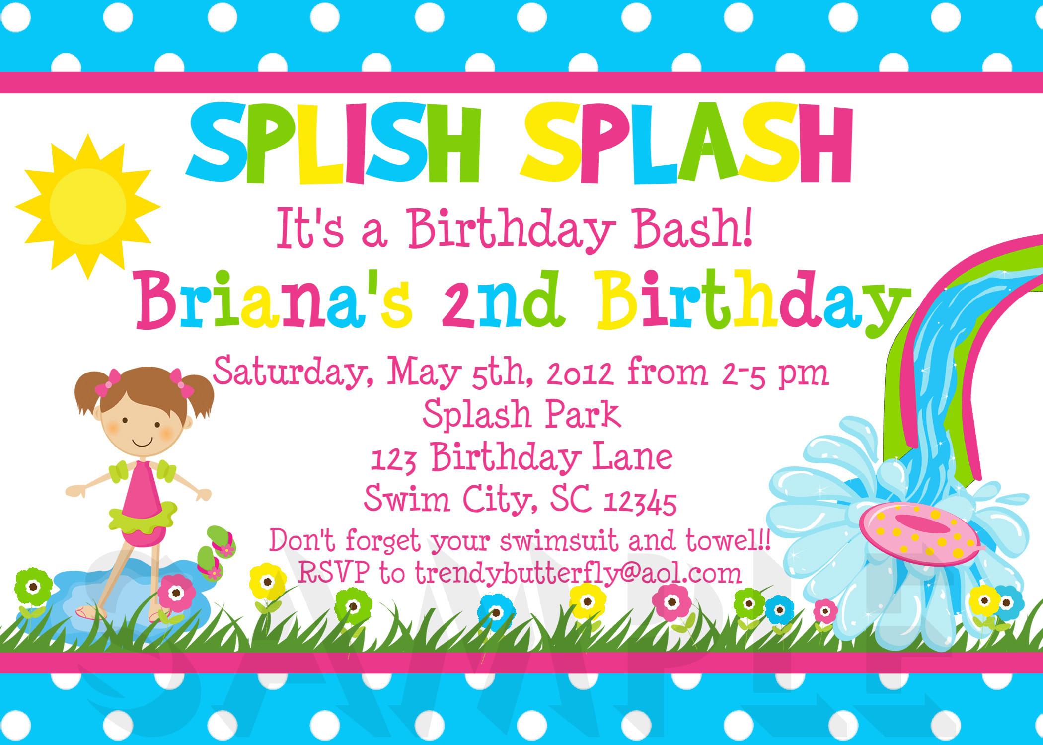 Toddler Birthday Invitations  Birthday Invitations Girls Water Splish Splash Party