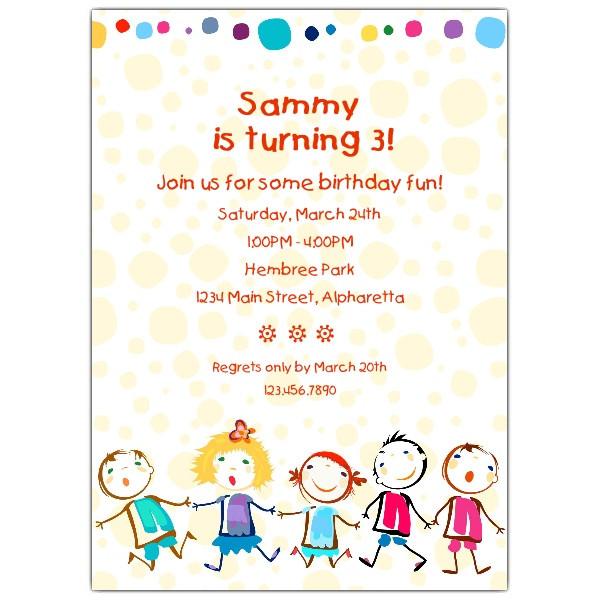 Toddler Birthday Invitations  Cheerful Kids Birthday Invitations