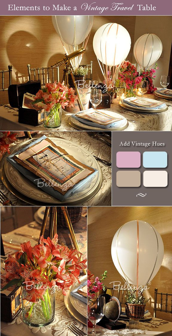 Travel Themed Wedding Centerpieces  How to Decorate a Vintage Travel Themed Wedding