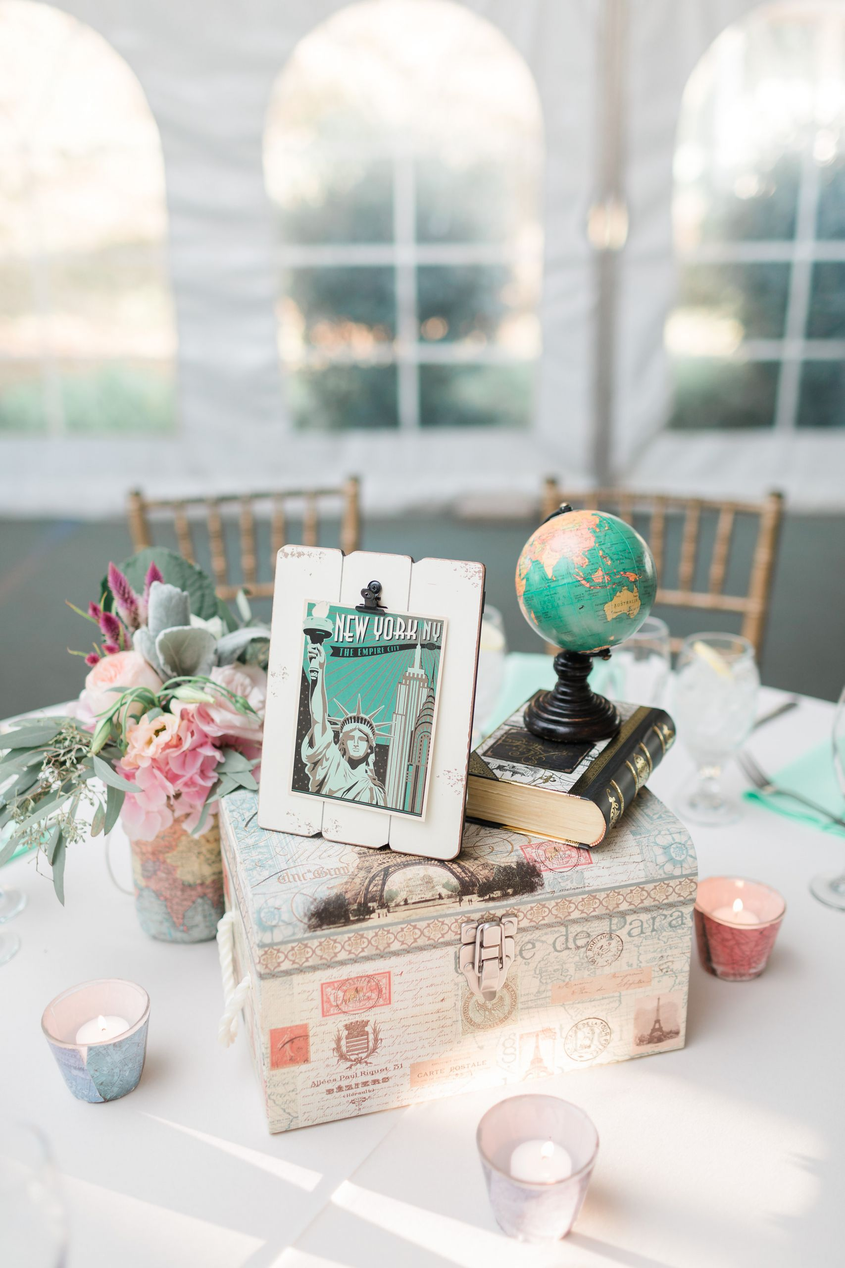 Travel Themed Wedding Centerpieces  Dreamy Travel themed Wedding at Stone Manor Country Club