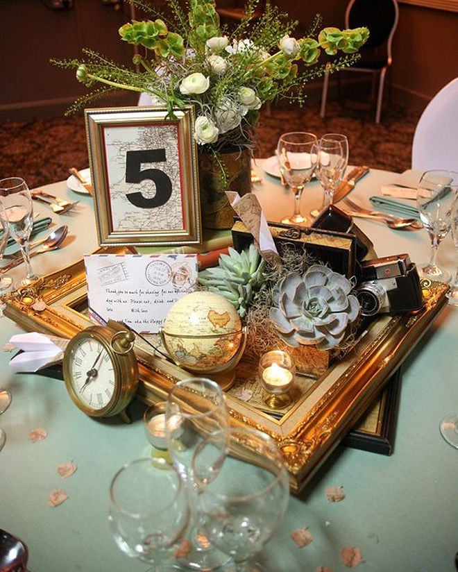 Travel Themed Wedding Centerpieces  travel themed centerpiece Each table could have a