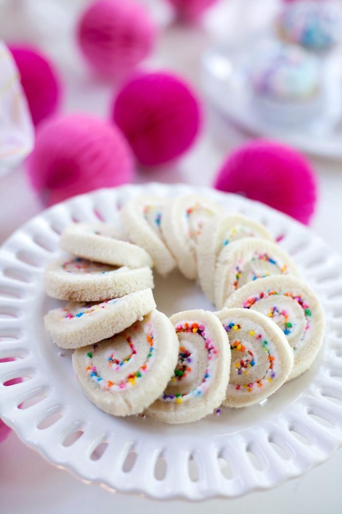 Unicorn Food Ideas For Party  Kara s Party Ideas Cream Cheese Sprinkle Pinwheel