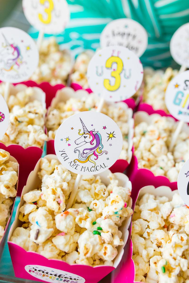 Unicorn Party Ideas Food  Rainbow Po Labels