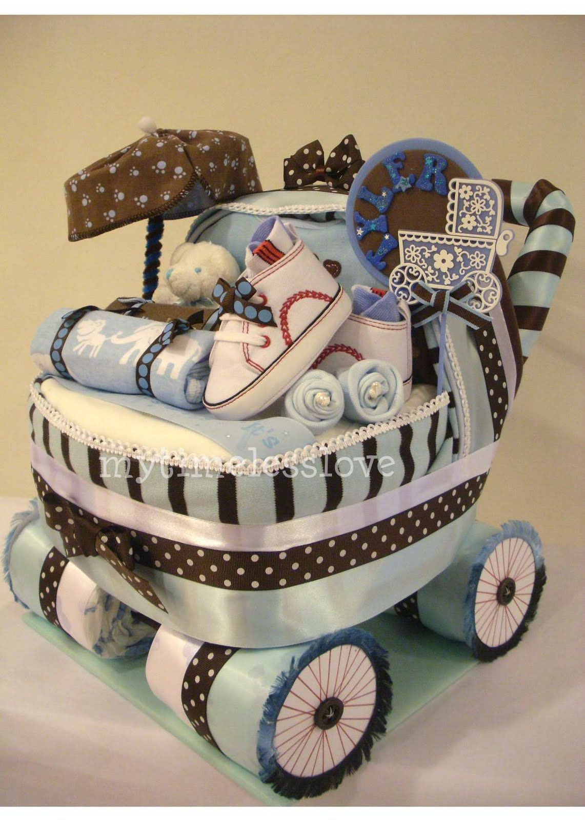 Unique Baby Shower Gift Ideas For Boys  baby carriage Diaper Cake