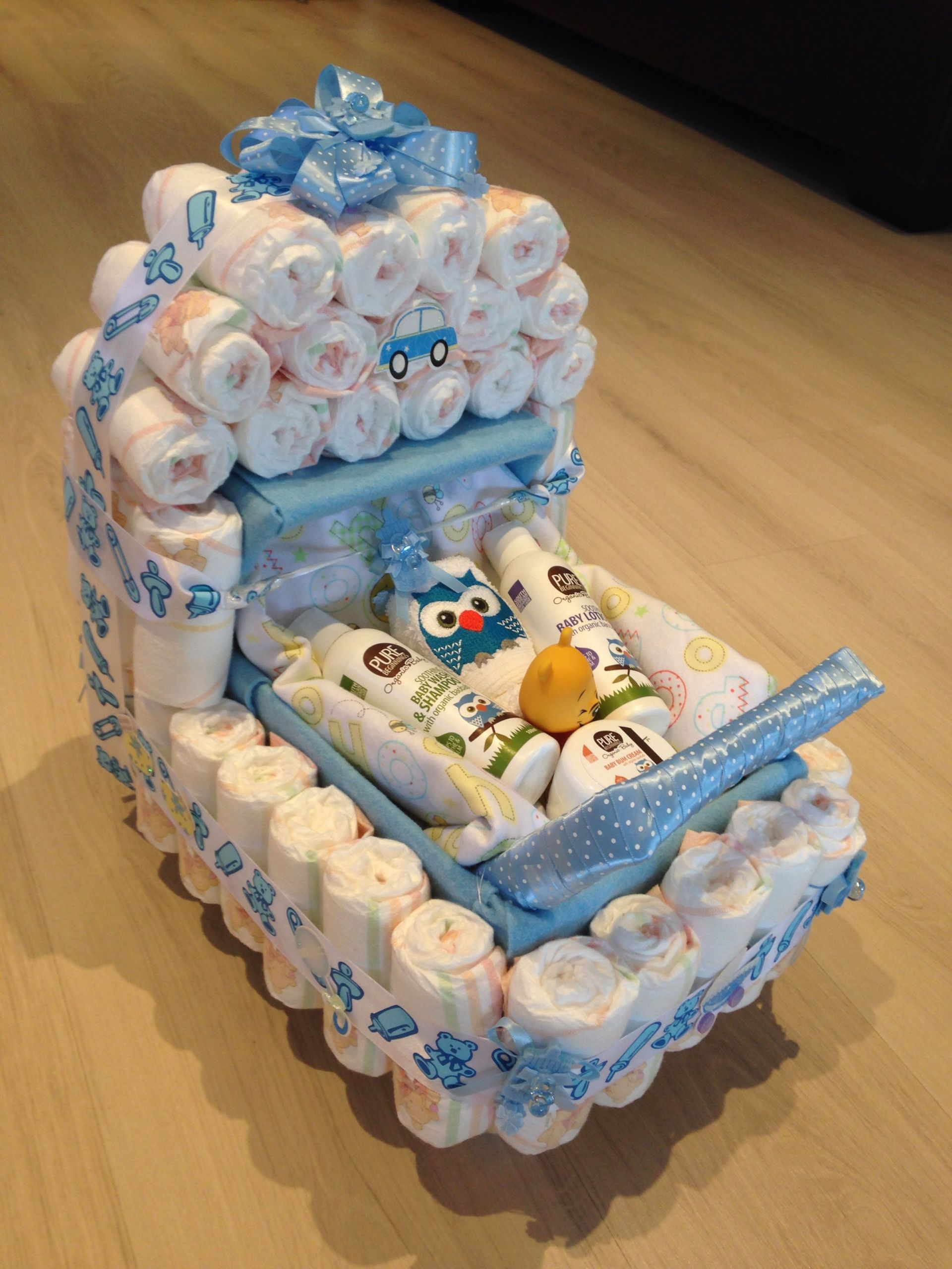 Unique Baby Shower Gift Ideas For Boys  Baby shower present nappy stroller idea
