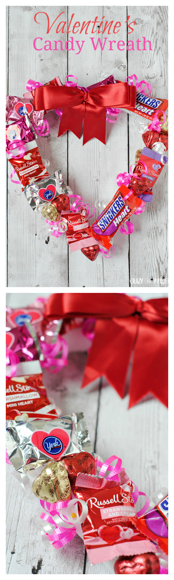 Valentines Candy Gift Ideas  Valentine s Candy Wreath Crazy Little Projects