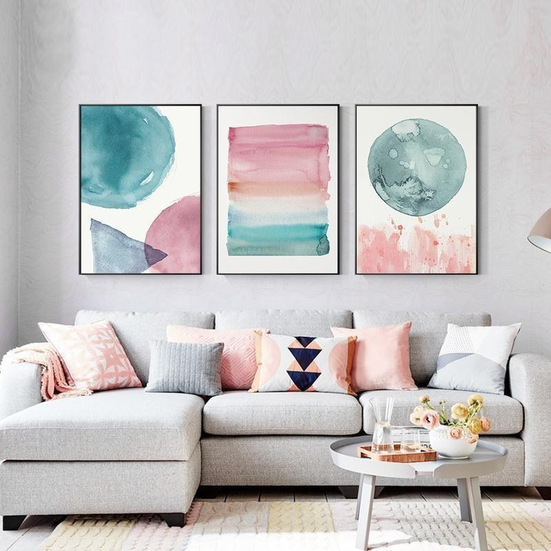 Wall Prints For Bedroom  Colorful Warm Cosy Bedroom Wall Art Shades Pink Blue