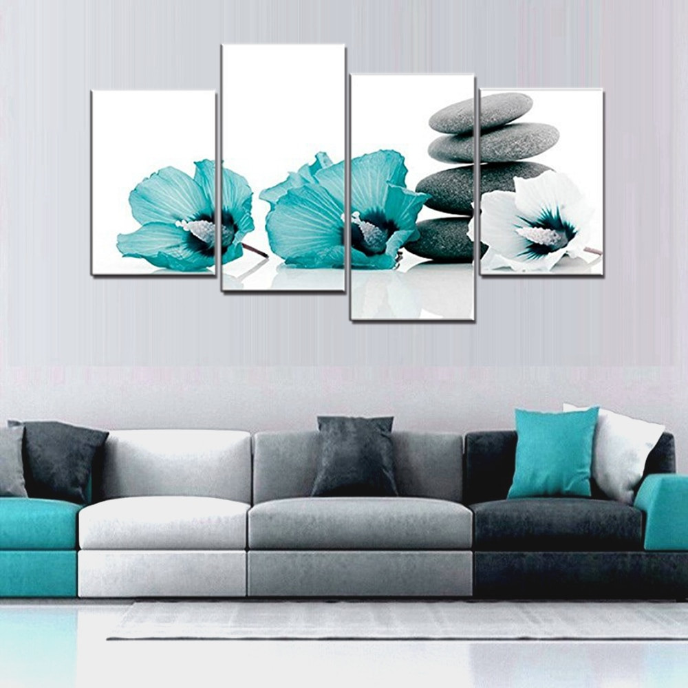 Wall Prints For Bedroom  Teal Grey and White Lily Floral Canvas Wall Art