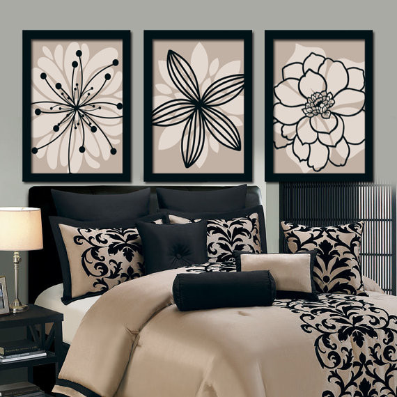 Wall Prints For Bedroom  Beige Black Wall Art Bedroom Canvas or Prints Bathroom Decor