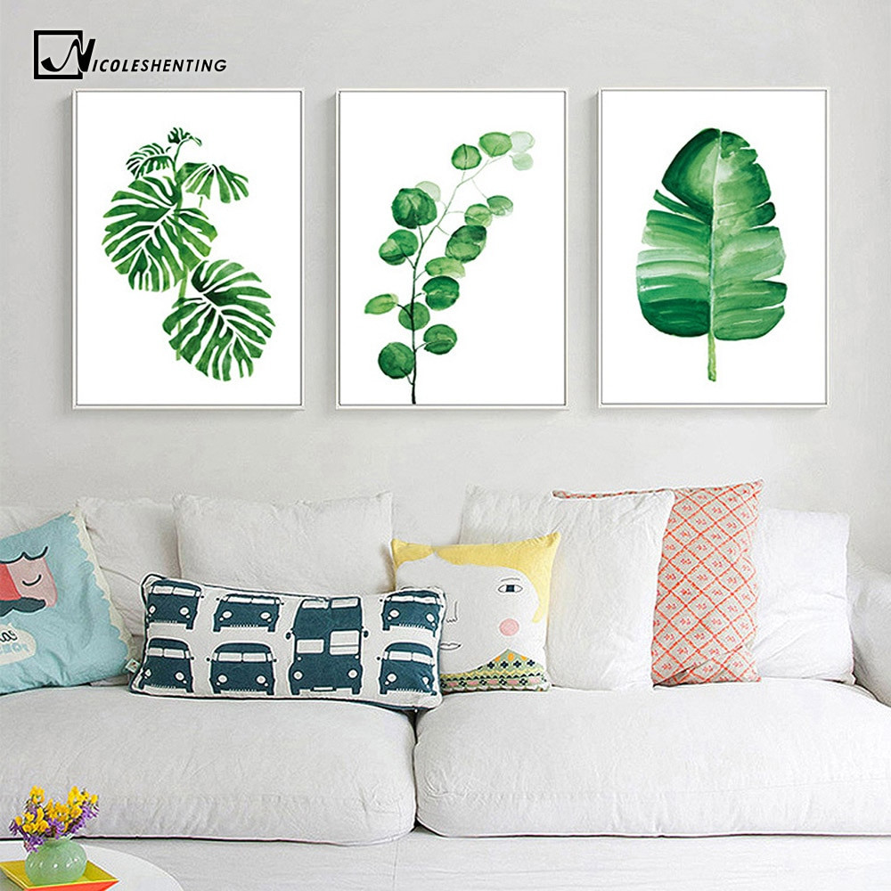 Wall Prints For Bedroom  Watercolor Tropical Plants Leaves Wall Art Canvas Posters
