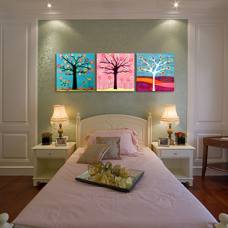 Wall Prints For Bedroom  3 piece colorful cartoon tree of life kids room prints