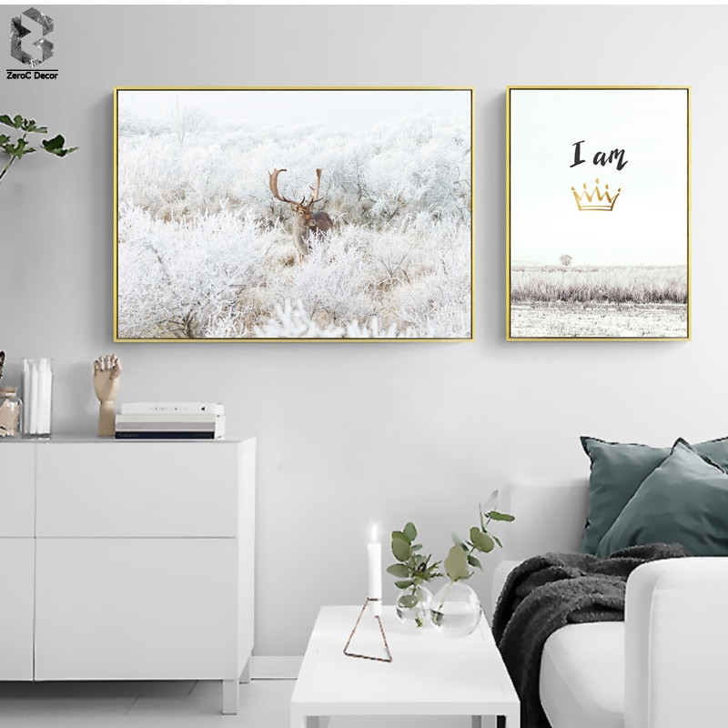 Wall Prints For Bedroom  Nordic Deer Wall Art Posters and Prints Animal Canvas