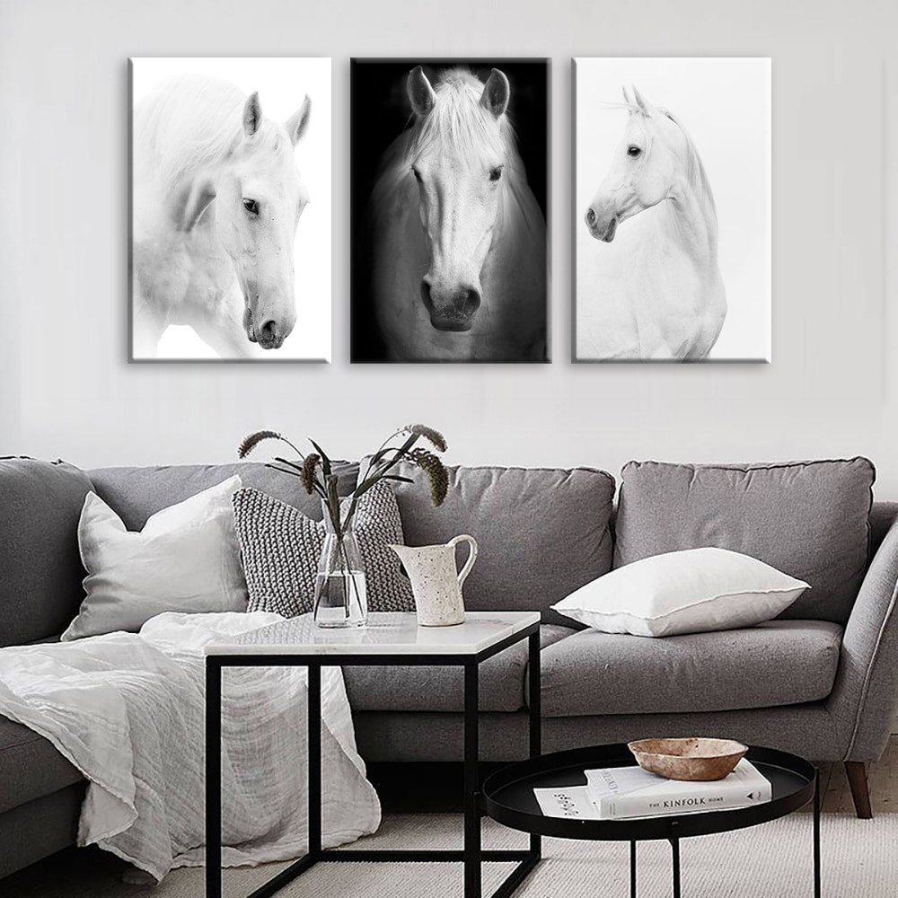 Wall Prints For Bedroom  White Horse Wall Art Canvas Prints Modern Art Home Decor