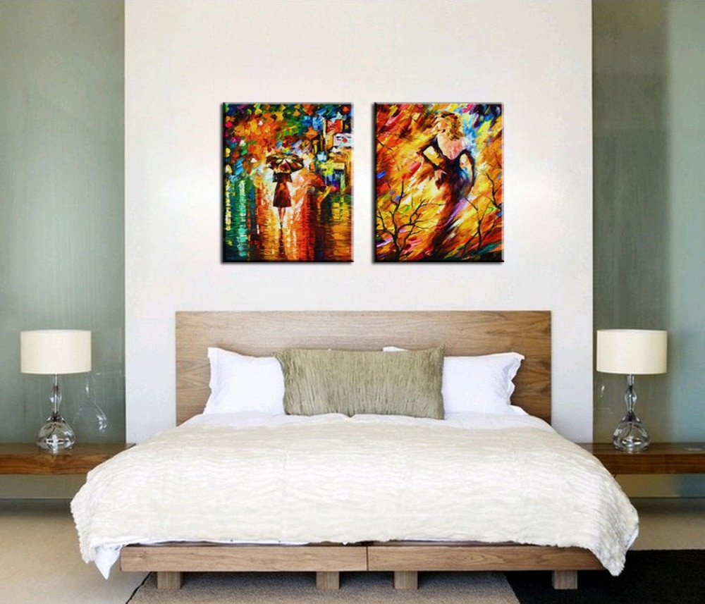 Wall Prints For Bedroom  Bedroom Decorated Knife paint landscape abstract modern