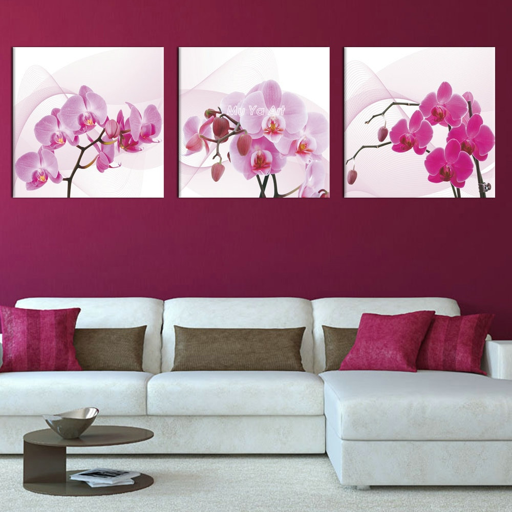 Wall Prints For Bedroom  3 panel pink canvas prints canvas art Orchid modern flower