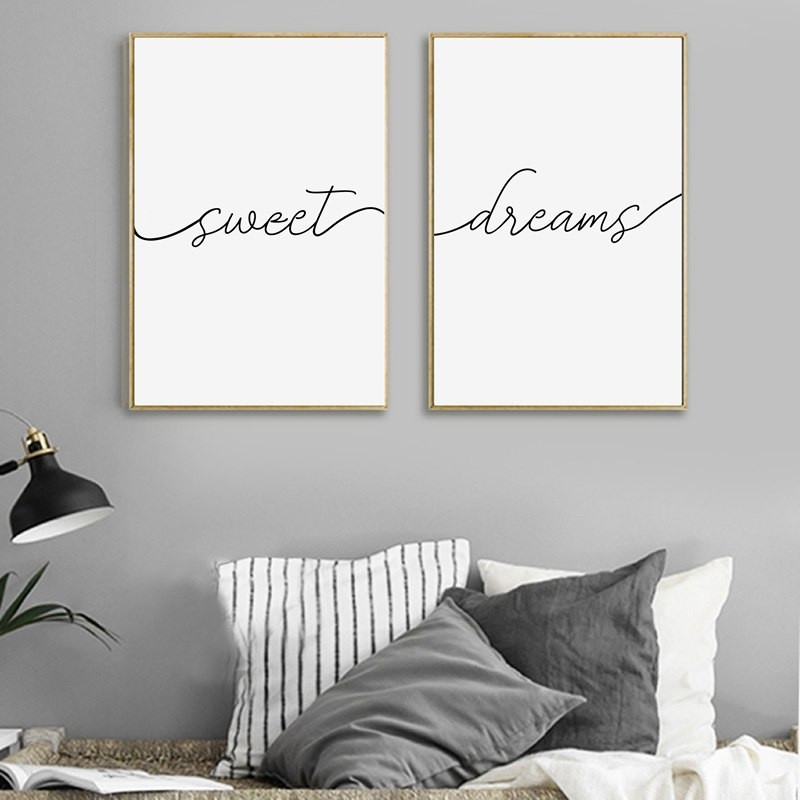 Wall Prints For Bedroom  Modern Minimalist Sweet Dreams Canvas Painting Nursery