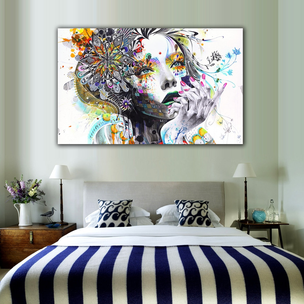 Wall Prints For Bedroom  1 Piece Modern Wall Art Girl With Flowers Unframed Canvas
