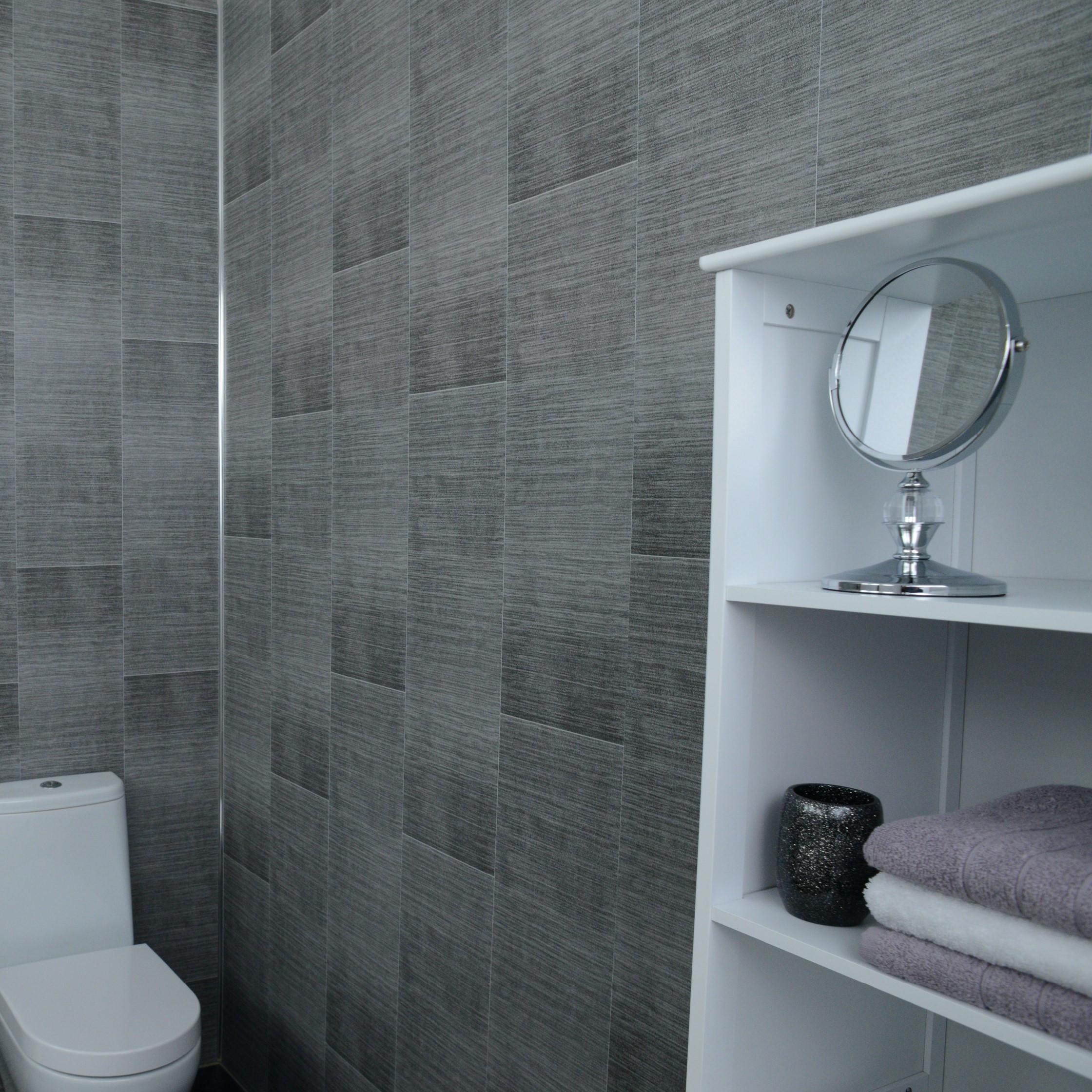Wallboard For Bathroom  Grey Brushed Tile Effect Bathroom Cladding & Light Grey