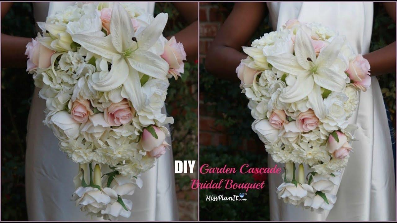 Wedding Bouquets DIY  DIY Garden Cascading Bridal Wedding Bouquet