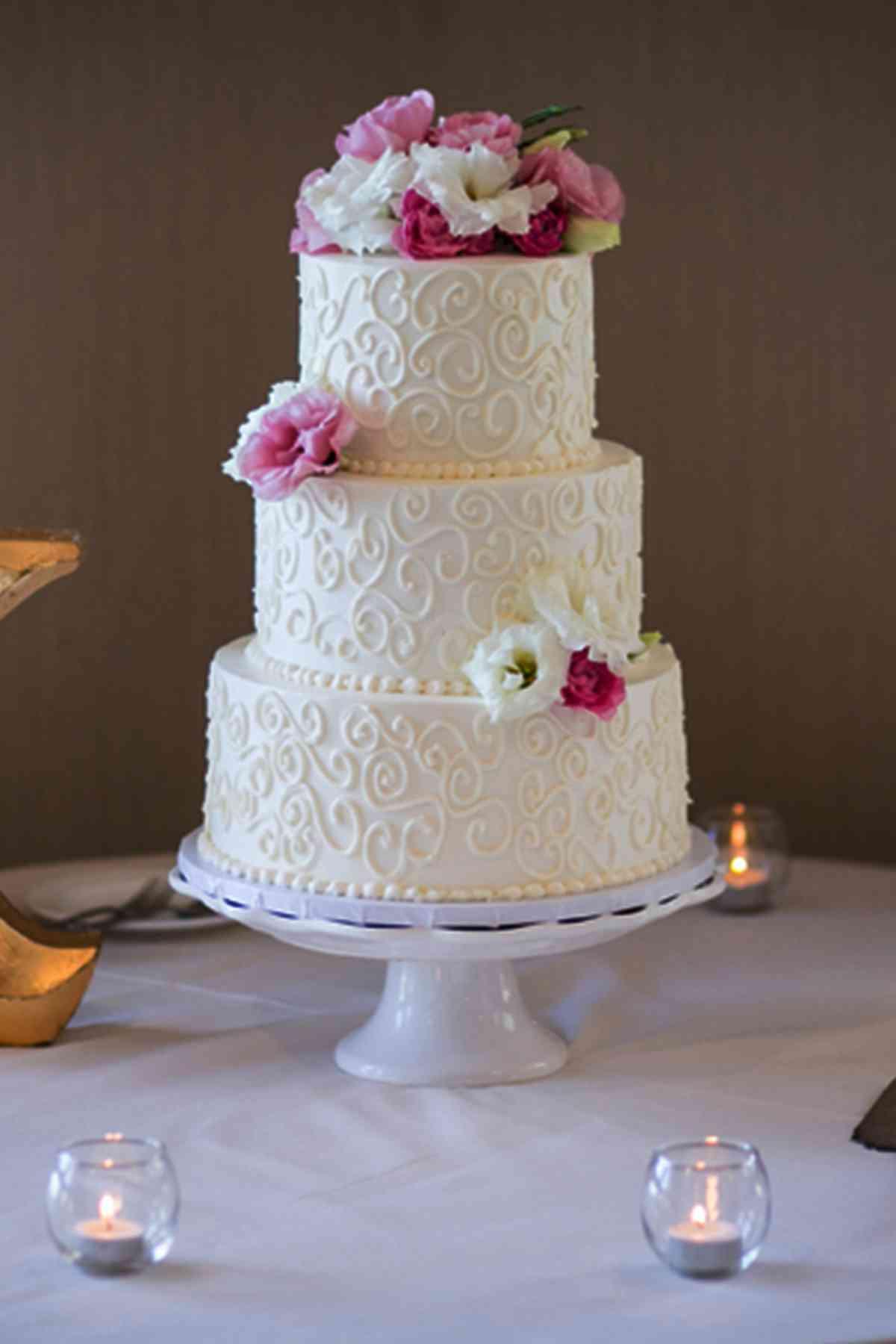 Wedding Cakes Simple  Simple three layered white wedding cake with swirls