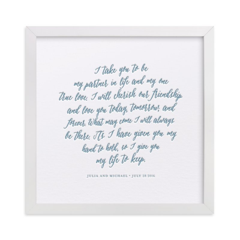 Wedding Vows With Children  Your Vows as a Letterpress Art Print Kids Drawn Art by
