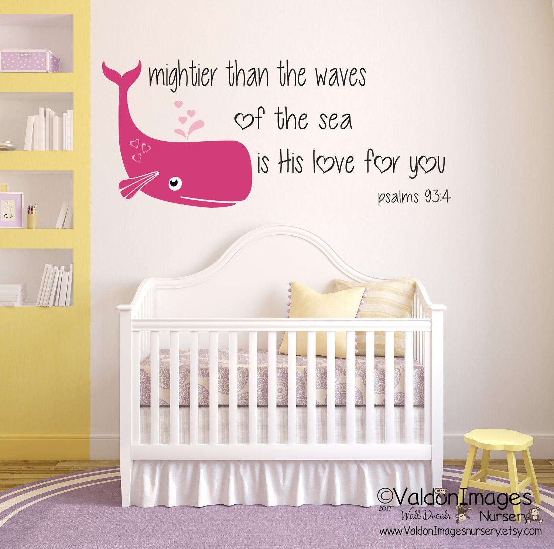 Whale Baby Decor  Baby whale nursery decor nursery wall decal girls room wall
