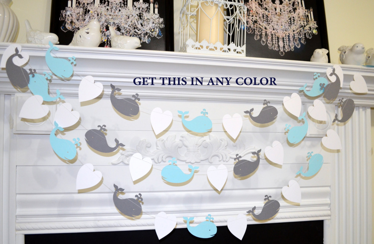 Whale Baby Decor  Whale Garland Whale baby shower Decorations Whale baby