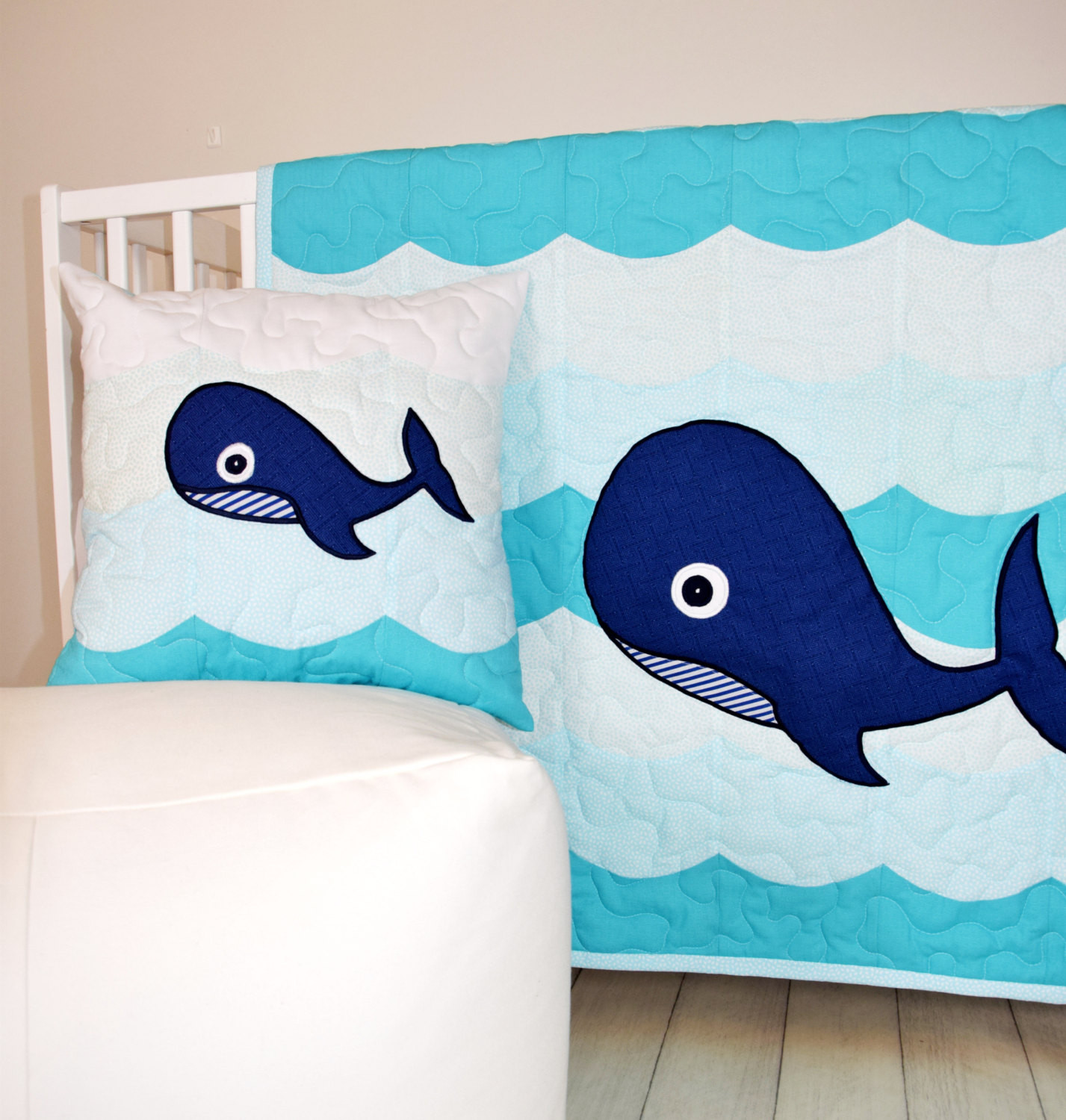 Whale Baby Decor  Nautical Nursery Bedding Whale Crib Quilt Childrens Room