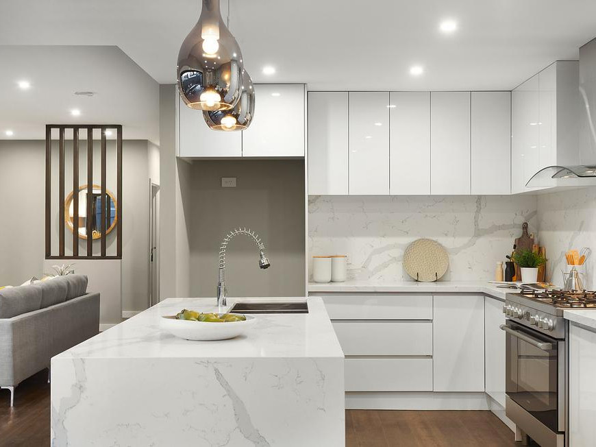White Kitchen Bench  4 Ways to Nail a Marble Look Kitchen Bench Top