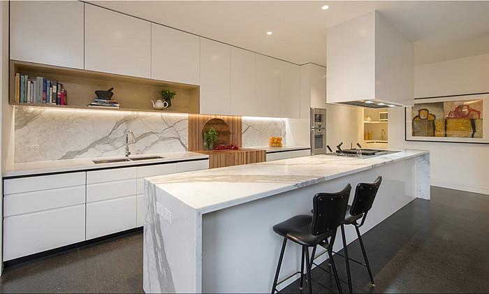 White Kitchen Bench  My Decorative kitchen marble benchtop white cupboards