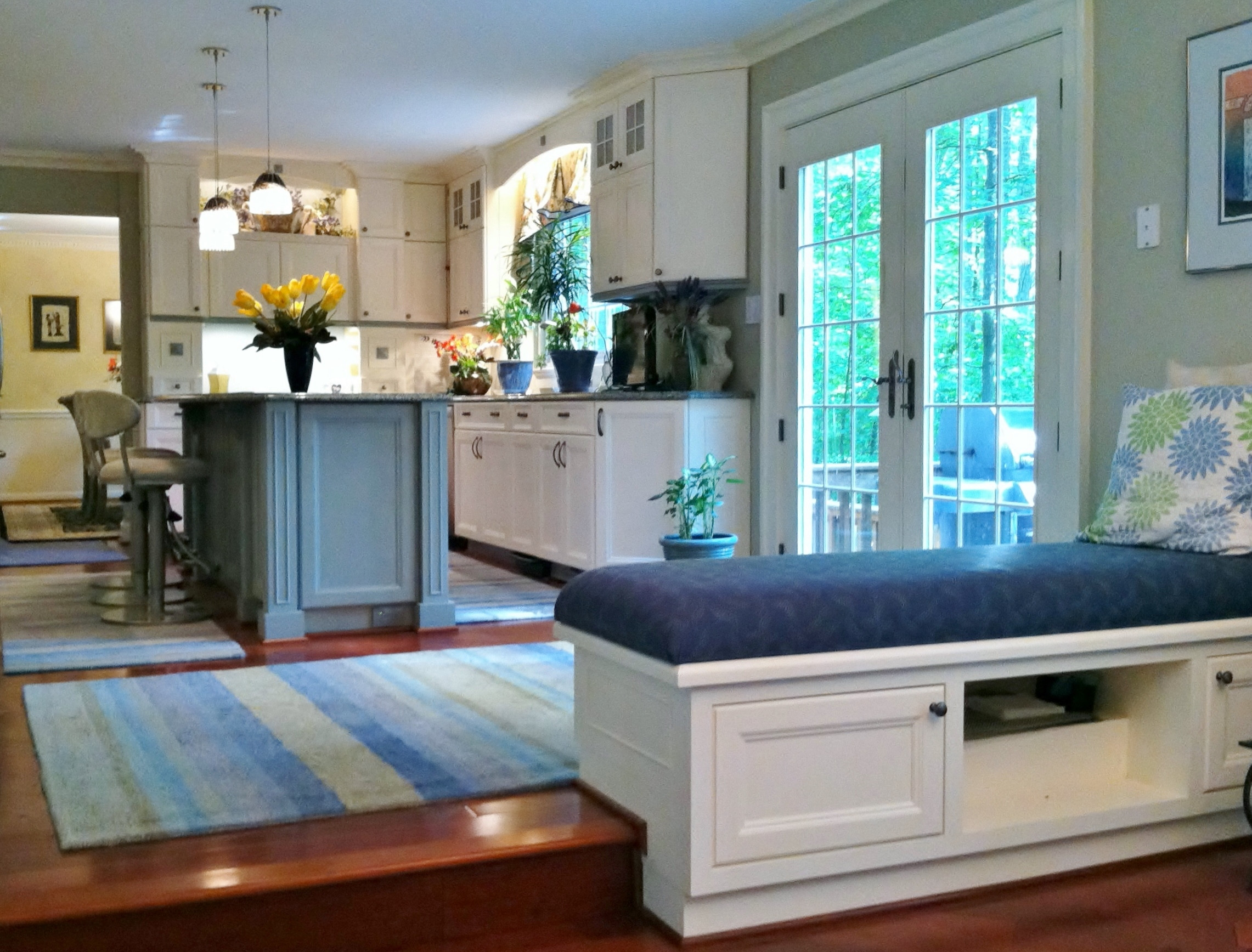 White Kitchen Bench  Designing with White Kitchen Cabinets Fairfax VA