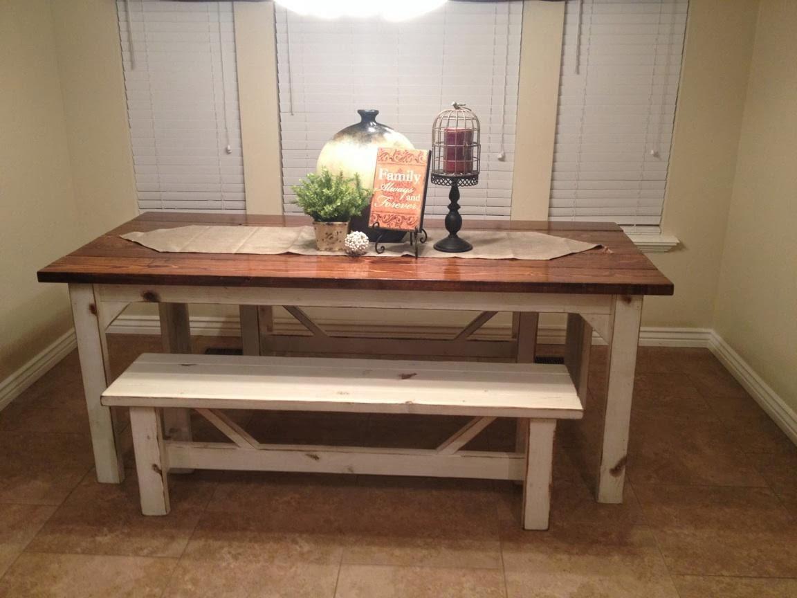 White Kitchen Bench  Farm Kitchen Table for Farmhouse Kitchen