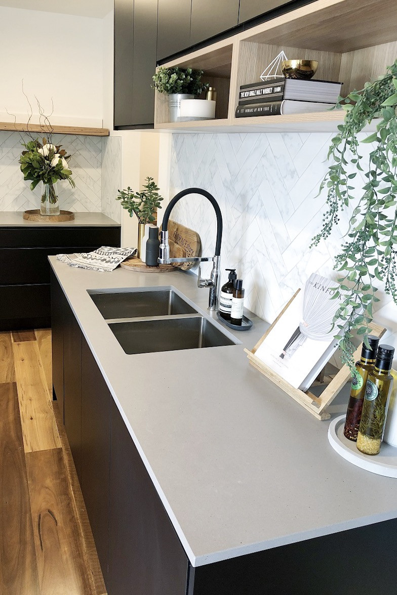 White Kitchen Bench  Matte black and timber accent kitchen Style Curator