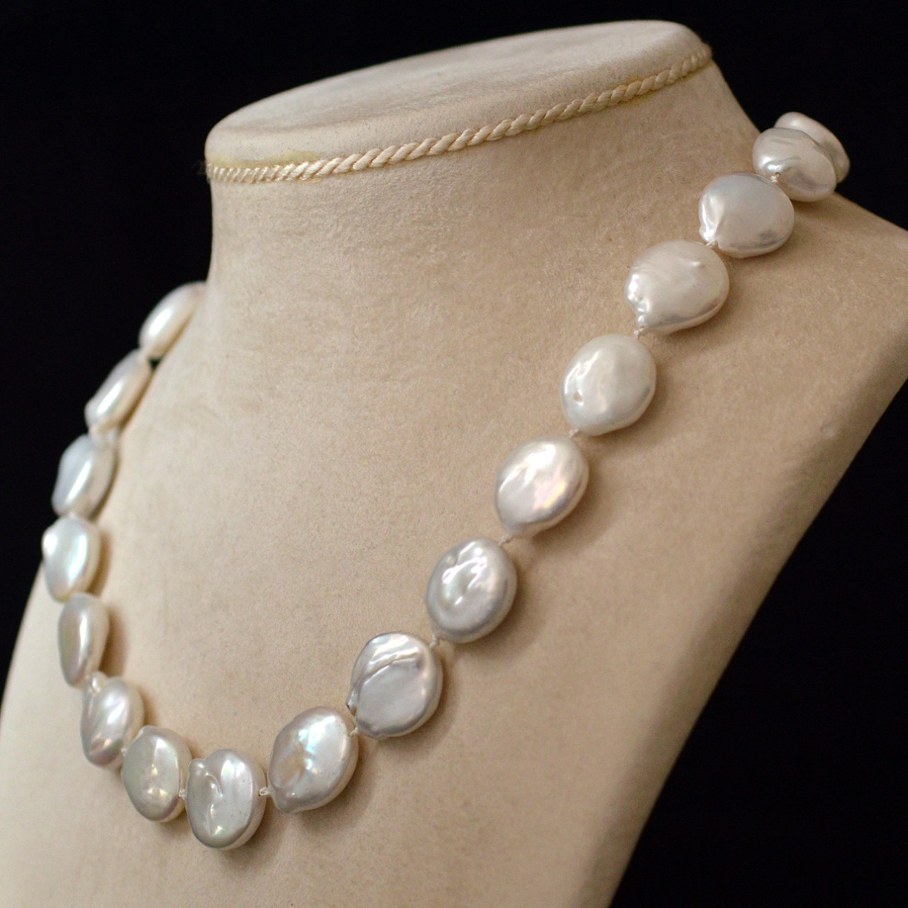 White Pearl Necklace  White coin pearl necklace Rocks and Clocks