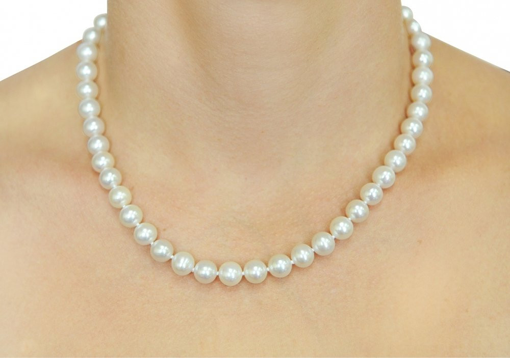 White Pearl Necklace  14K Gold 8 9mm White Freshwater Cultured Pearl Necklace