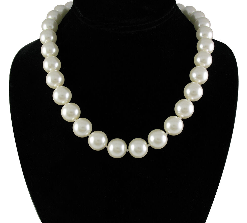 White Pearl Necklace  Elegant 14mm Faux White Pearl 18 inch Necklace with