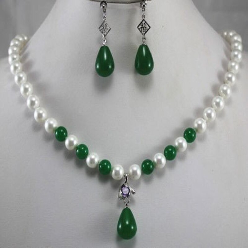 White Pearl Necklace  New Women s Fashion 8mm White&Dark Green Pearl Necklace