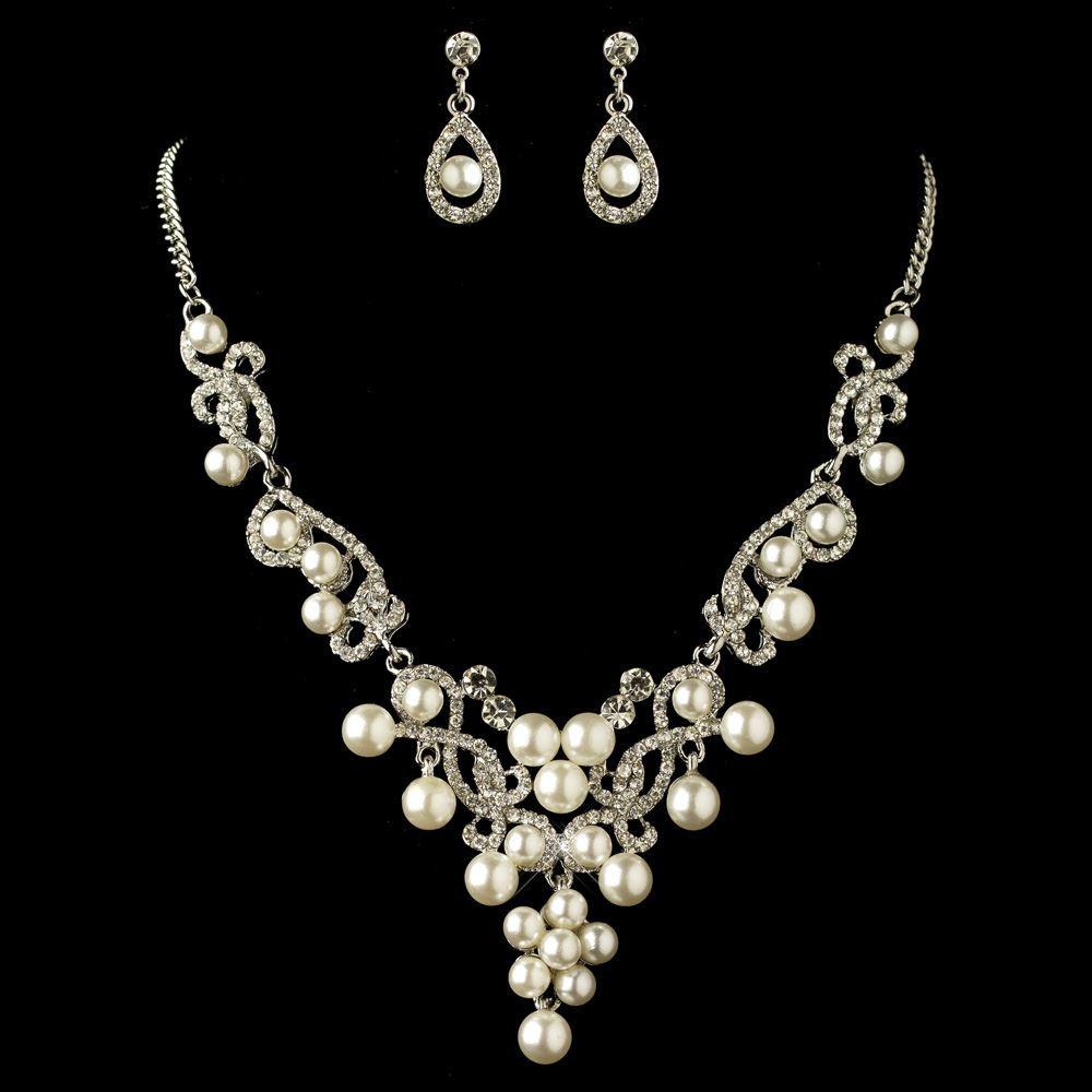 White Pearl Necklace  Rhodium White Pearl & Rhinestone Swirl Jewelry Set 4213