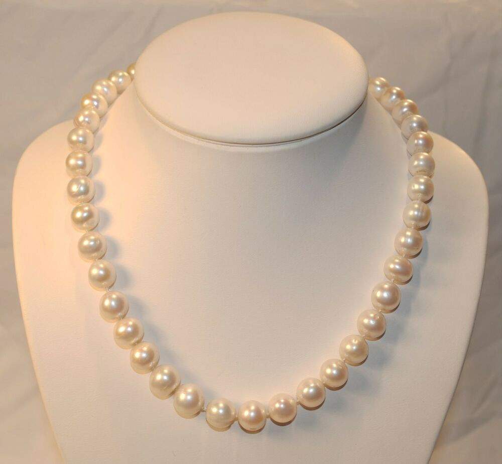 """White Pearl Necklace  18"""" GENUINE 10MM WHITE PEARL NECKLACE W PINK HUE & WHITE"""