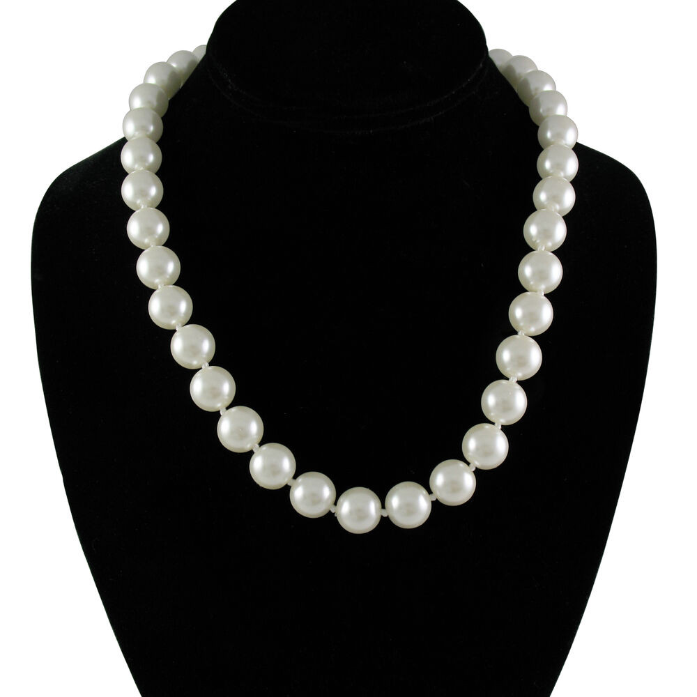 White Pearl Necklace  Elegant 12mm Faux White Pearl Necklace 20 Inch with