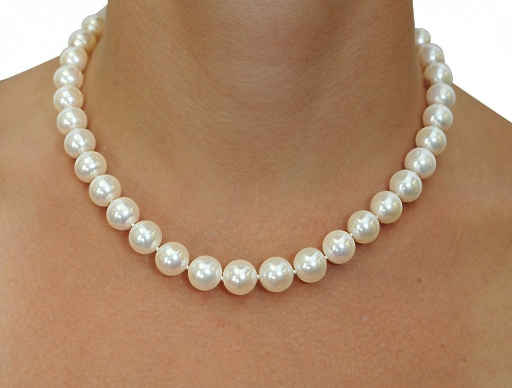 White Pearl Necklace  11 12mm White Freshwater Pearl Necklace