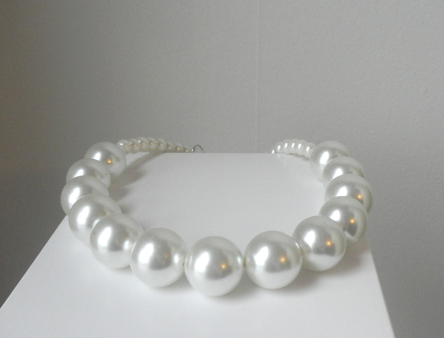 White Pearl Necklace  Chunky White Pearl Necklace Statement Big by FiorellaJewelry