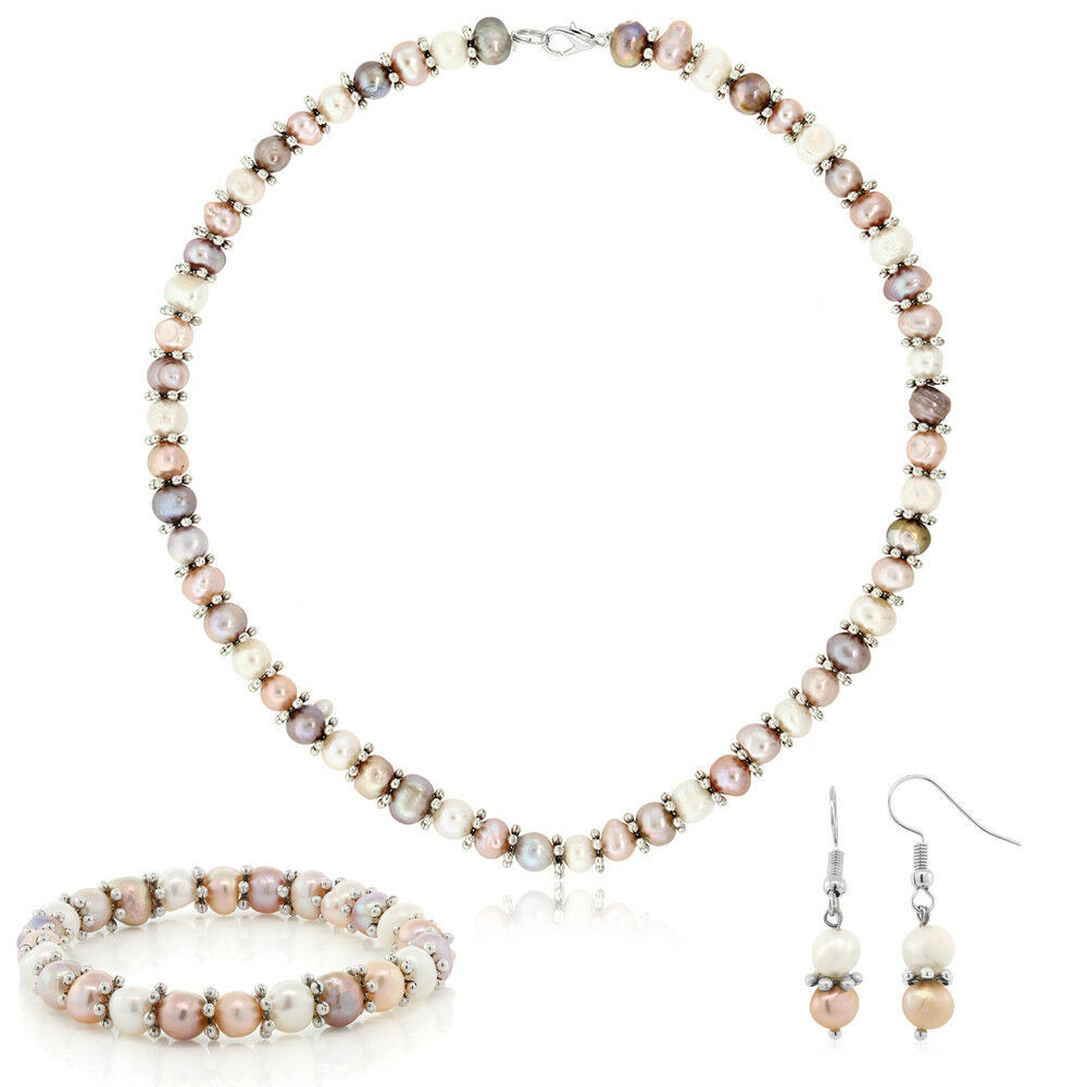 White Pearl Necklace  Pink & White Cultured Freshwater Pearl Necklace Earrings