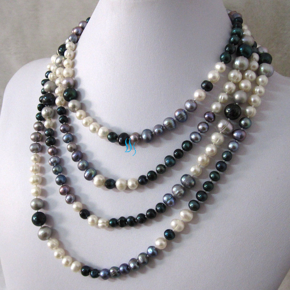 """White Pearl Necklace  76"""" 5 11mm Multi Color Freshwater Pearl Necklace White"""