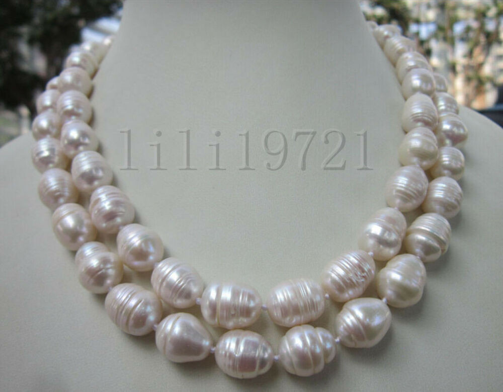 White Pearl Necklace  9 12MM WHITE FRESHWATER Cultured BAROQUE PEARL NECKLACE 35